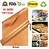 xl bbq grill mat - Angels' BBQ Grill Mat Set of 2-16 x 24 Inch Extra Large Best Gift Reusable, Easy to Clean Barbeque Grilling Bake Baking Mat Sheets Accessories - Barbecue Grill Mats Non Stick (XL:16 x 24 Inch-Copper)