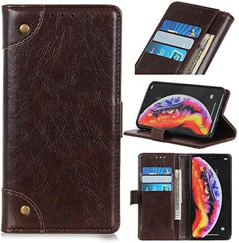 あなたの携帯電話を保護する 銅バックルナッパテクスチャ水平フリップレザーケースギャラクシーM10用、ホルダー&カードスロット&財布付き (色 : コーヒー)