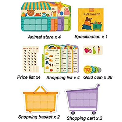 JCREN Shopping Cart and List Matching Games for Kids - Fun Pretend Play Puzzle Shopping Carts and Groceries Cognitive Memory Number Operation Training Learning Educational Toy for Toddlers Boys Girls: Toys & Games