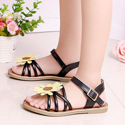 Huhu833 Baby Schuhe, Kleinkind Kinder Baby Mädchen Sandalen Blume Römischen Sandalen Prinzessin Schuhe Schwarz