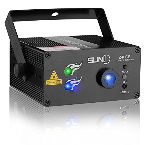 SUNY Laser Lighting for Party DJ Show 40 Patterns Green Blue Laser Lights Blue LED Light Music Laser Projector Sound Activated Remote Control Stage Lighting Dance Bar House Show Decoration Holiday