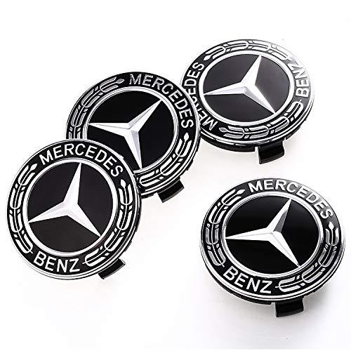ffomo Mercedes Set of 4 Dark Blue Center Wheel HUB CAPS 75 MM Cover Chrome Emblem (fit Benz 75mm) ()