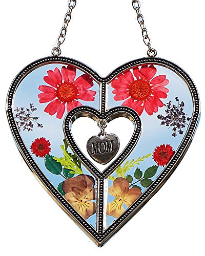 Tiffany Lamp & Gift Factory Mom Heart Mother Suncatcher with Pressed Flower Heart - Heart Suncatcher - Mom Gifts Gift for Mother's Day
