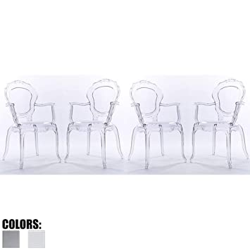 Cool Amazon Com 2Xhome Set Of Four 4 Belle Style Ghost Bralicious Painted Fabric Chair Ideas Braliciousco