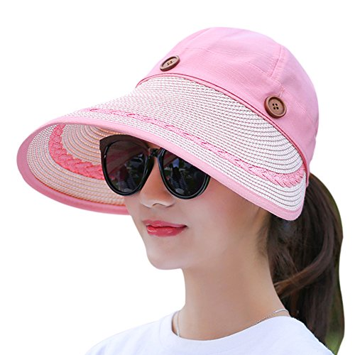 Outdoor Cap Cotton Visor (Muryobao Women's Wide Brim Floppy Hat Packable Straw Sun Caps Summer UV Protection Hats With Chin Strap For Women Beach Glof Pink)
