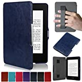 Artyond Kindle Paperwhite Case, Crazy Horse Pattern PU Leather Case [Hand Strap Holder] Smart Magnetic Soft Case For Amazon Kindle Paperwhite 1 2 3(Fits All 2012, 2013, 2015 and 2016 Versio (darkblue)