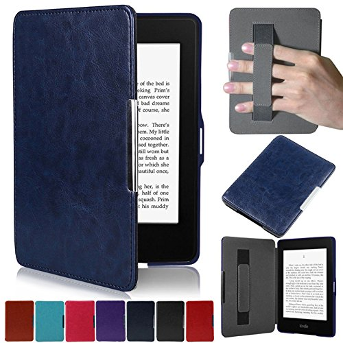 Artyond Kindle Paperwhite Case, Crazy Horse Pattern PU Leather Case [Hand Strap Holder] Smart Magnetic Soft Case For Amazon Kindle Paperwhite 1 2 3(Fits All 2012, 2013, 2015 and 2016 Versio (darkblue) by REASUN