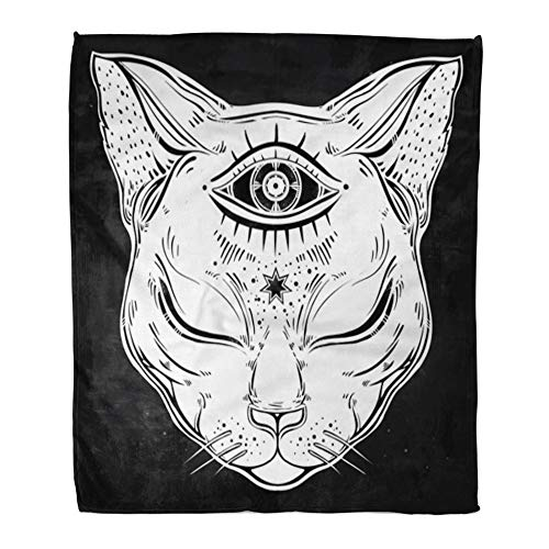 Emvency Throw Blanket Warm Cozy Print Flannel Black Cat Head Portrait Moon and Three Eyes Third is Open for Halloween Tattoo Comfortable Soft for Bed Sofa and Couch 50x60 Inches