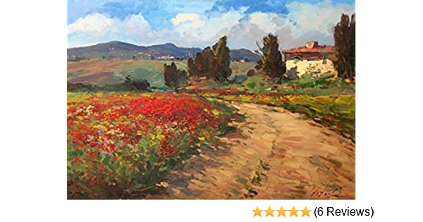 4fcbf8cb1e8 Amazon.com  Italy Tuscan Country Art Prints on Canvas and Paper Landscape  Field Poppies Old House Clouds Cypress Trees from Original Oil Painting of  ...