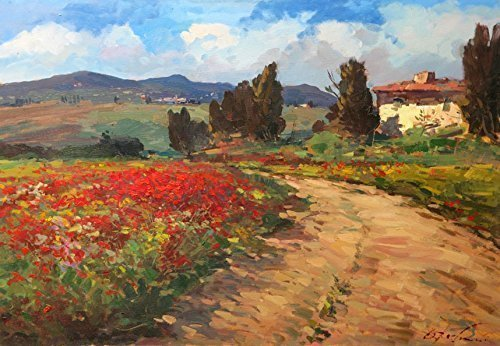 Italy Tuscan Country Art Prints on Canvas and Paper Landscape Field Poppies Old House Clouds Cypress Trees from Original Oil Painting of Agostino Veroni Home Decor Living Room Christmas Gifts Ideas ()