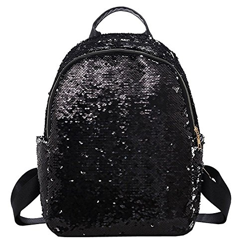 Double for Sequins Shoulder School Bag Fashion Girl Black Backpack Zip Student Gold Travel Bag qzTpW4wRx