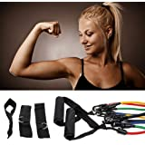 Wacces Set of 5 NEW Premium Latex Power Resistance Bands Tubes Cords w/ Free Door Anchor, Storage Bag and Exercise Instructions