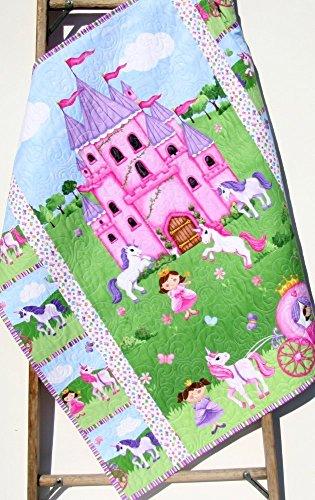 Princess Baby Quilt Homemade Girl Blanket Castle Unicorns Carriage Horses Pink Purple Crib Bedding Nursery Décor Infant Child Quality Handmade