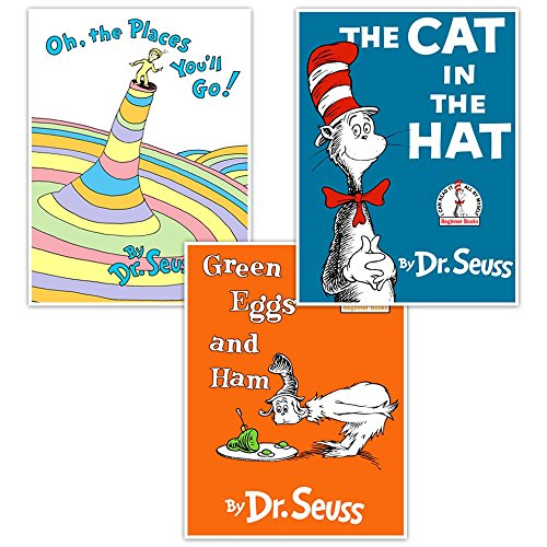 Dr. Seuss Book Wall Art Unique Nursery Deco r- Cat in the Hat, Oh the Places You Go, Green Eggs and Ham Book -Baby Shower New Baby Gift - Set of three posters