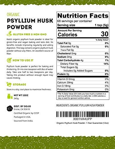 Psyllium Husk Powder Organic by Kate Naturals  Perfect for