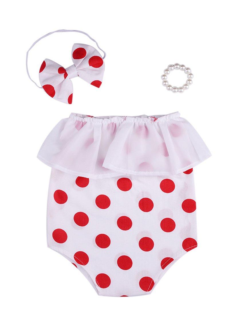 Mummyhug Baby Polka Dot Strampler Stirnband Perle Armband Set Neugeborenen Outfits Fotografie Requisiten Kostüm für 6-12 Monate [2018 neue Version] (Rot)