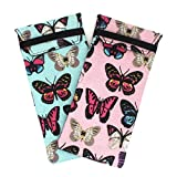 2 PACK / 3 PACK Soft Cloth Slip In Lady Floral Eyeglass or Regular Sunglasses Pouch Case (Butterfly)