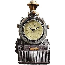 Johnson Smith Co. Locomotive Shaped Wall Clock - Resin Steam Train Figure w/Roman Numerals