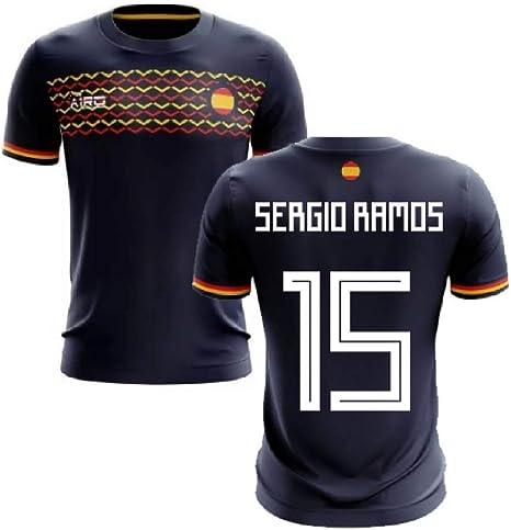 Airosportswear 2019-2020 - Camiseta de fútbol de España (Sergio Ramos 15), Hombre, Azul Marino, S/Contorno del Pecho: 88/96 cm: Amazon.es: Deportes y aire libre