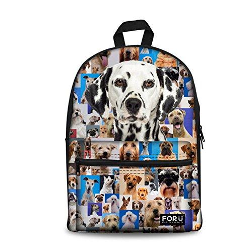 HUGS IDEA Pet Dog Dachshund Pattern Casual Canvas Laptop Backpack High School Bookbag for Teen Girls