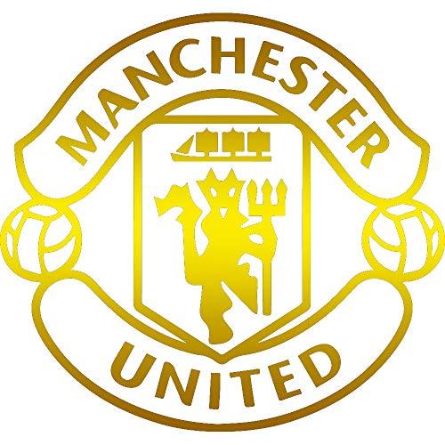 FC MU Manchester United (Metallic Gold) (Set of 2) Premium Waterproof Vinyl Decal Stickers for Laptop Phone Accessory Helmet Car Window Bumper Mug Tuber Cup Door Wall ()