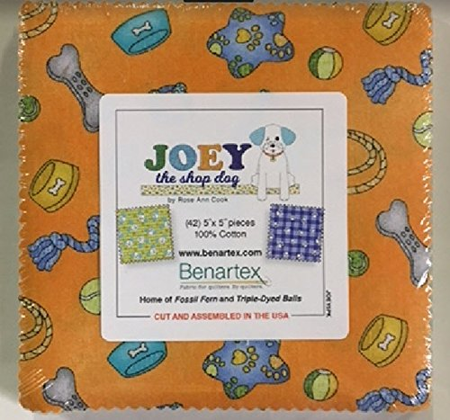 Benartex Joey the Shop Dog Precut 5-inch Charm Pack Cotton Fabric Quilting Squares Assortment