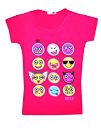 KIDS EMOJI EMOTICONS SMILEY FACES SHORT SLEEVE T-SHIRTS TOPS GIRLS AGE NEW 2-13y