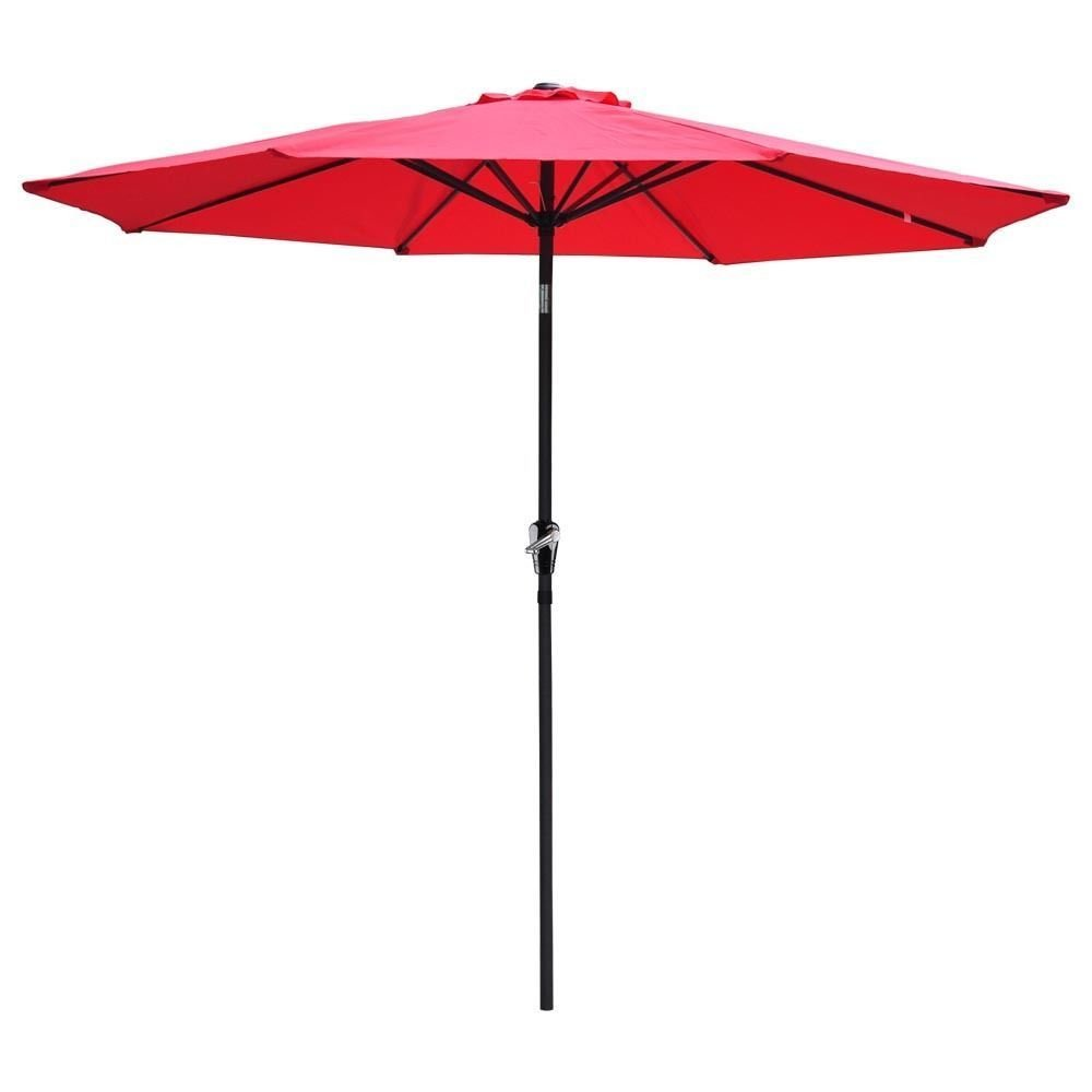 9 Feet 8 Rids Aluminum Outdoor Market Yard Beach Patio Umbrella Light weight 180D polyester and UV protection w/ Crank-RED color