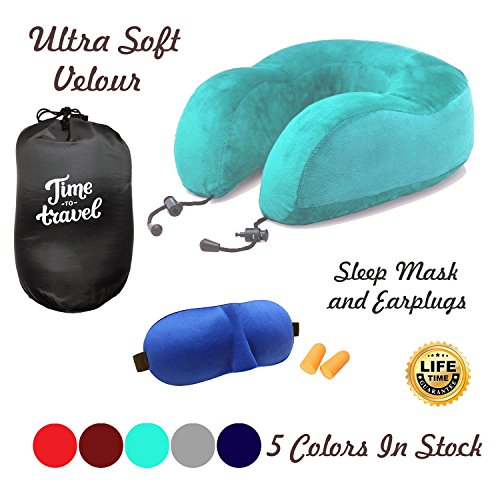 Price comparison product image UkrStore Travel pillow Set - Memory Foam Neck Pillow With Ultra Plush Velour, Sleep Mask and Earplugs …