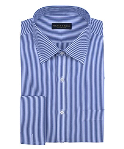 Blue French Shirt Stripe Bengal - Wilkes & Riley Slim Fit, Non-Iron Blue Bengal Stripe English Spread Collar