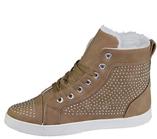 KOLLACHE Damen Kunstfell Gefütterter Knöchel Stiefel Damen Trainer Sneaker Schnürschuh Winter Warm mit Stein verziert Schuhe Größe Khaki