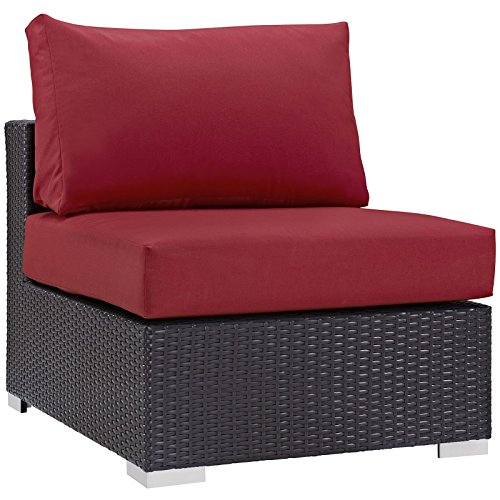 Modway Convene Wicker Rattan Outdoor Patio Sectional Sofa Armless Chair in Espresso Red