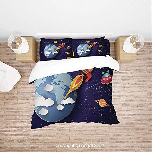 PUTIEN Modern Cotton Bedding 4 Pieces Set Duvet Cover Set,Rocket on Planetary System with Earth Stars UFO Saturn Sun Galaxy Boys Print,with Hidden Zipper Closure.