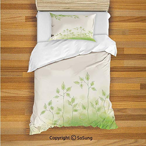 Apartment Decor Kids Duvet Cover Set Twin Size, Fresh Foliage Design with Pastel Colored Leaves Botanic Environment Eco Purity Image 2 Piece Bedding Set with 1 Pillow Sham,Soft Green