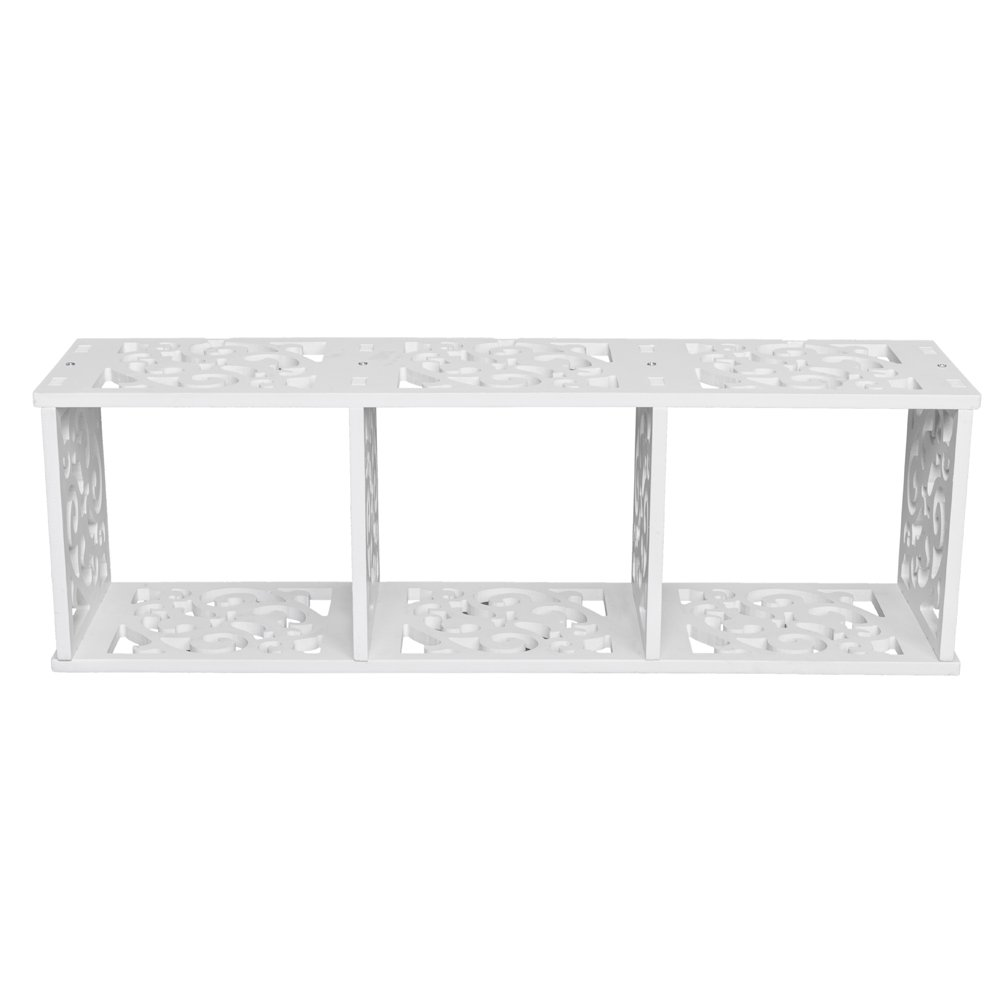 aifeier Wood-Plastic Board Three lattices Carved Overhead Storage Rack White