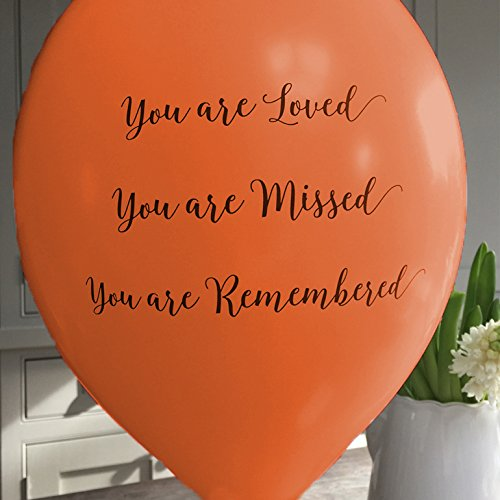 ANGEL & DOVE 25 Orange 'You are Loved, Missed, Remembered' Biodegradable Funeral Remembrance Balloons - for Memory Table, Memorial, Condolence, Anniversary