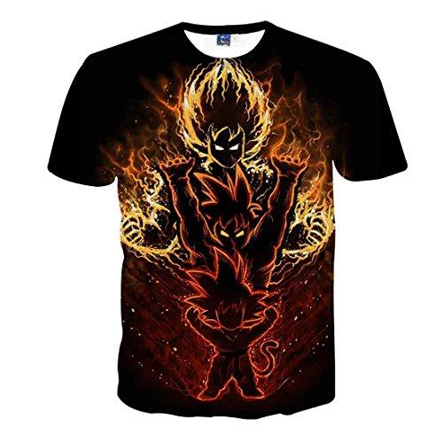 CHENMA Men Dragon Ball 3D Print Short Sleeve Pullover Regular Fit T-Shirt -