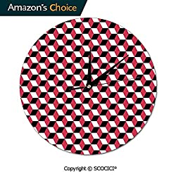 SCOCICI 10 Inch Round Wall Clock Geometric Cube Prisms Flat Ornament Retro Minimalist Movement Silent Non-Ticking for Kitchen Study Office Room Decorations