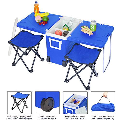 Outdoor Rolling Cooler, Picnic Table and Chair Stool, Picnic Camping Foldable Rolling Cooler with Table & 2 Upgraded Stool Chairs (Blue) ()