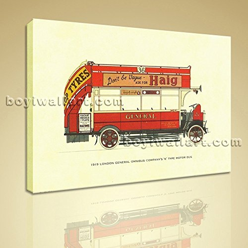 HD Print Canvas Wall Art 1919 London General Omnibus Motor Bus Stretched Extra Large Wall Art, Gallery Wrapped, by Bo Yi Gallery 20