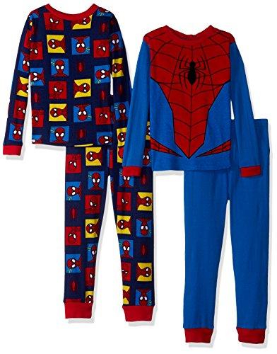 (Marvel  Boys' Little Spiderman 4-Piece Cotton Pajama Set, Spidey Suit Blue,)