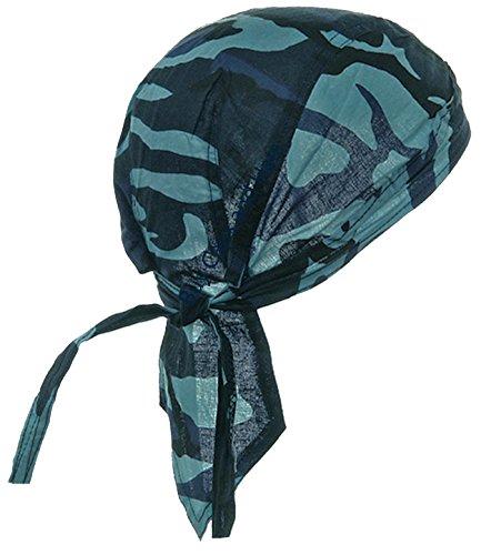 Camouflage Doo Rag Skull Cap Camo Bandana Hunting Hunters Head Wrap (Blue Camouflage) ()