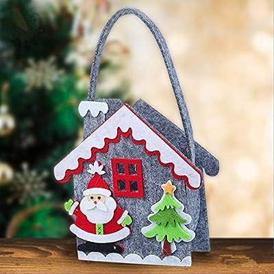 Christmas Hut Christmas 3Pack Hut Candy Box Gift Bag Decor with Chimney Santa Claus Christmas Tree Reindeer Snowman