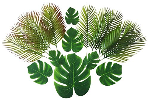 (ShoppeWatch Artificial Palm Leaves with Stem and Tropical Monstera Fronds (48 Pcs) Philodendron Party Decorations Faux Palm Tree Plant Leaf Fake Imitation Ferns Branches Home Kitchen Plastic Decor )
