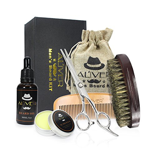 Beard Grooming Kit,Natural Beard Balm,Beard Oil,Wooden Beard Brush,Beard Comb – Mustach & Beard Trimming Scissors for Styling and Shaping – Mustache Care Gift Set – Best for Home & Travel