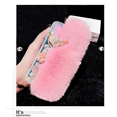 Yaheeda For Alcatel OneTouch IDOL 3 (5.5 inch), Bling Crystal Flowers Fluffy Cover Rex Rabbit Fur Case Winter Handmade Soft Crystal Case Shell Creativ…