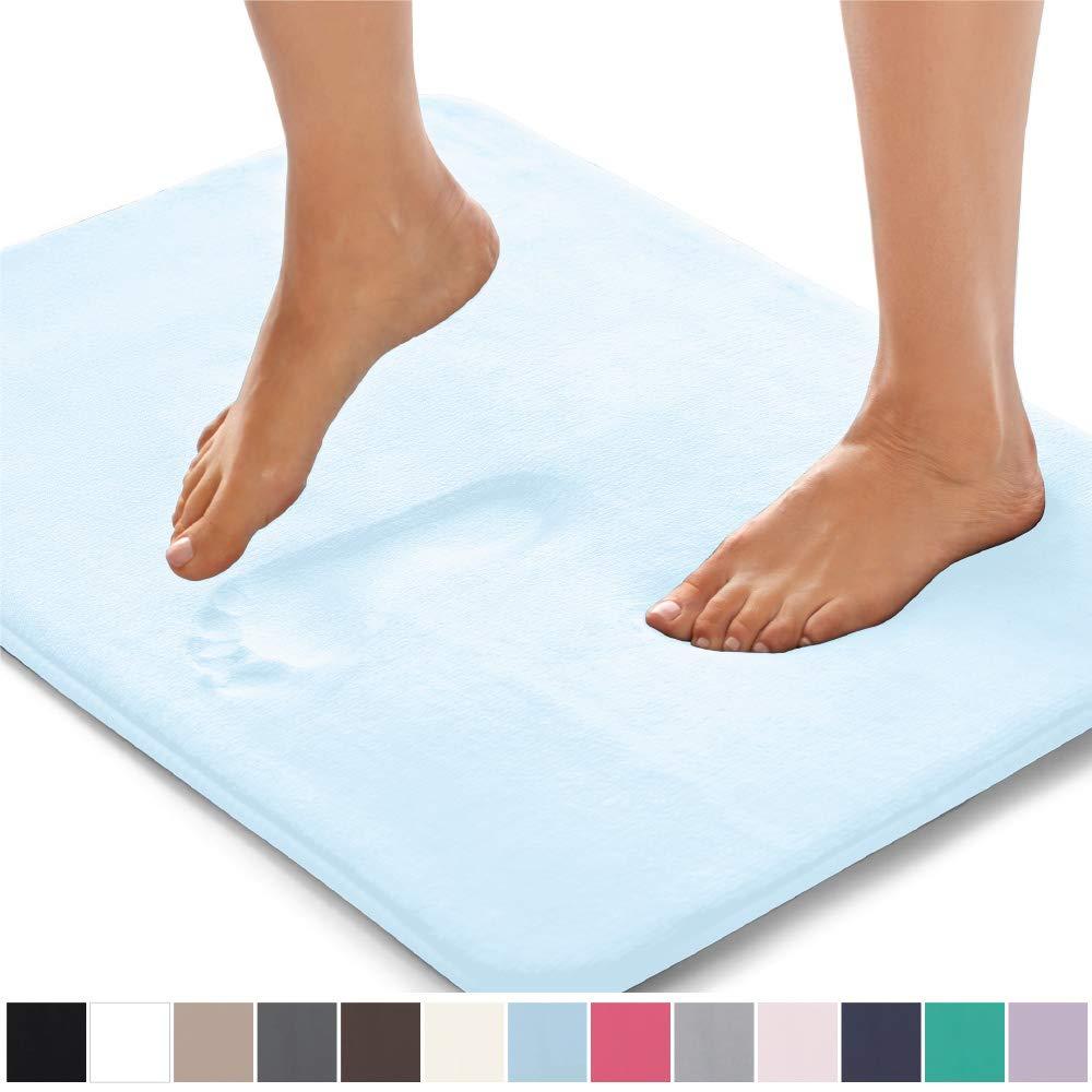 Gorilla Grip Original Thick Memory Foam Bath Rug (30x20) Cushioned, Soft Floor Mats, Absorbent Kids Bathroom Mat Rugs, Machine Wash + Dry, Luxury Plush Comfortable Carpet for Bath Room (Light Blue)
