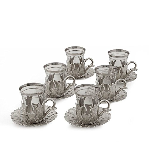 (Gold Case Silver plated Turkish Tea Glasses Set for 6 - Made in Turkey - 18 pieced METAL set in Gift Box, Silver)