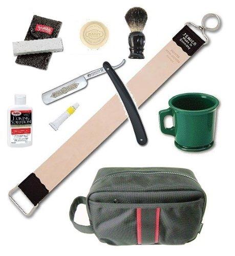 Dovo Straight Razor Soap Mug Brush Strop Paste 9 Pieces Shaving Set by Multiple Brands