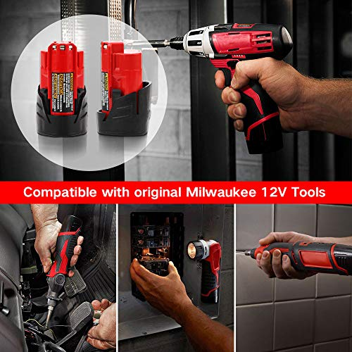 2500mAh 12V Replacement for Milwaukee M12 Battery XC 48-11-2410 48-11-2420 48-11-2411 Cordless Tools Batteries – 2 Pack